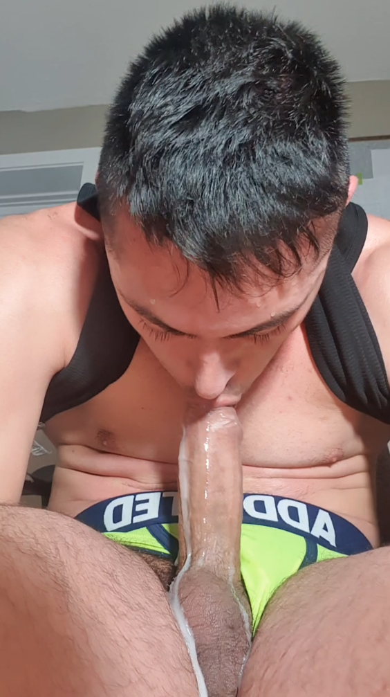 ALB Horny Latino Performs Autofellatio and Bursts Cum in Own Mouth